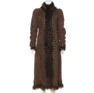 Tory Burch Ali Shearling Leather Long Trench Coat